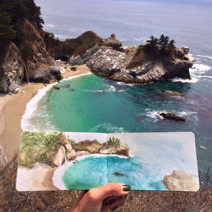 Art-Teacher-Paints-Watercolors-Using-Water-Found-at-The-Destinations-6